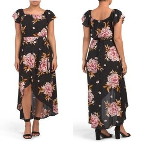 Band of Gypsies Black Floral High Low Maxi Dress M